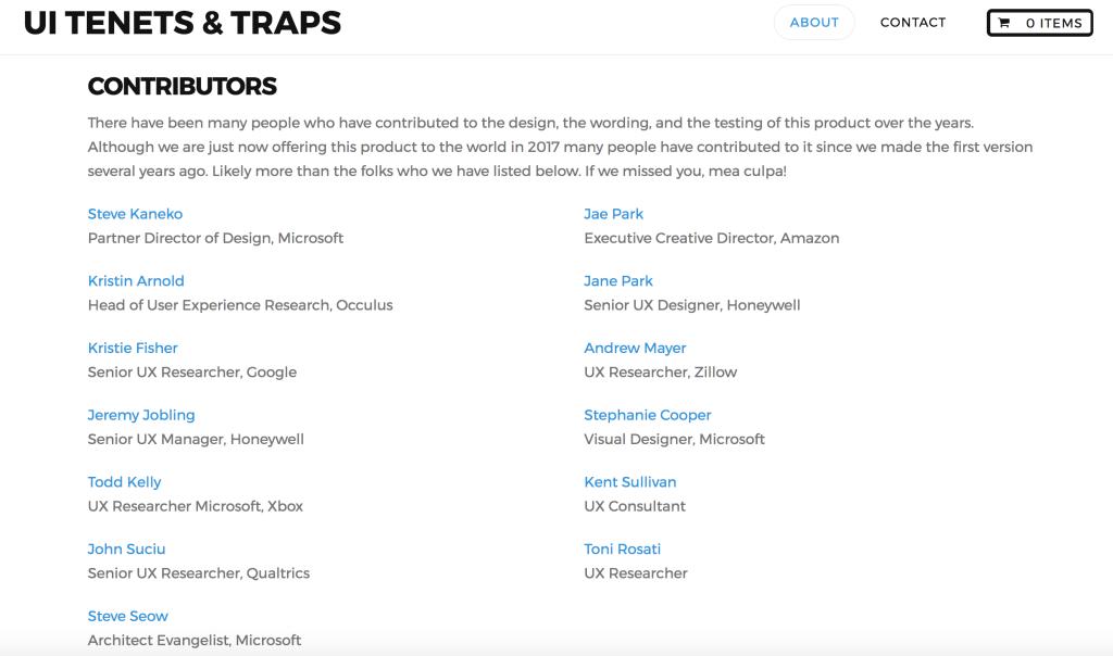 tenets traps contributors
